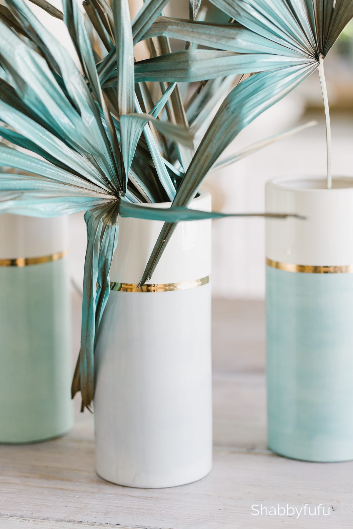 spring break in Miami tablescape painted palm leaves