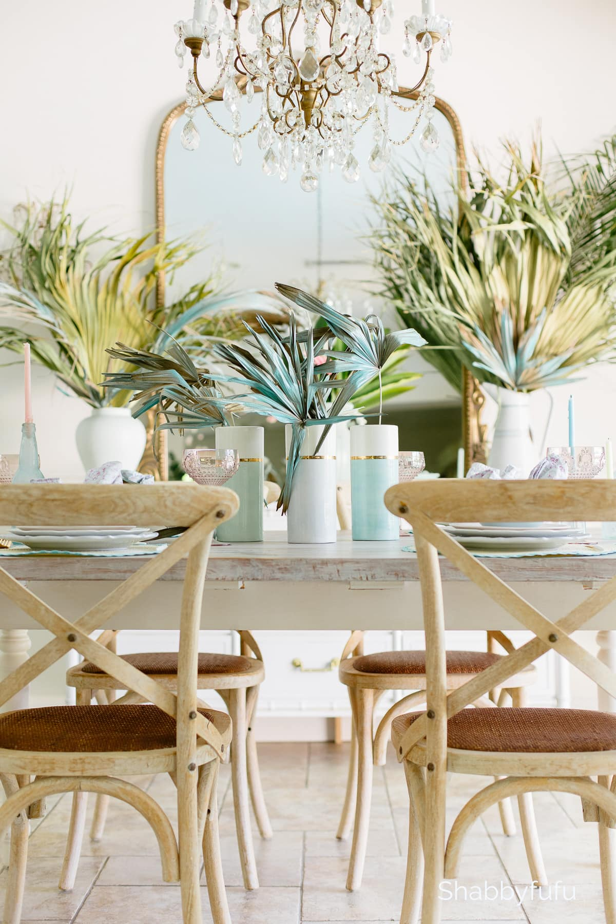 spring break in Miami tablescape with dried palm fronds