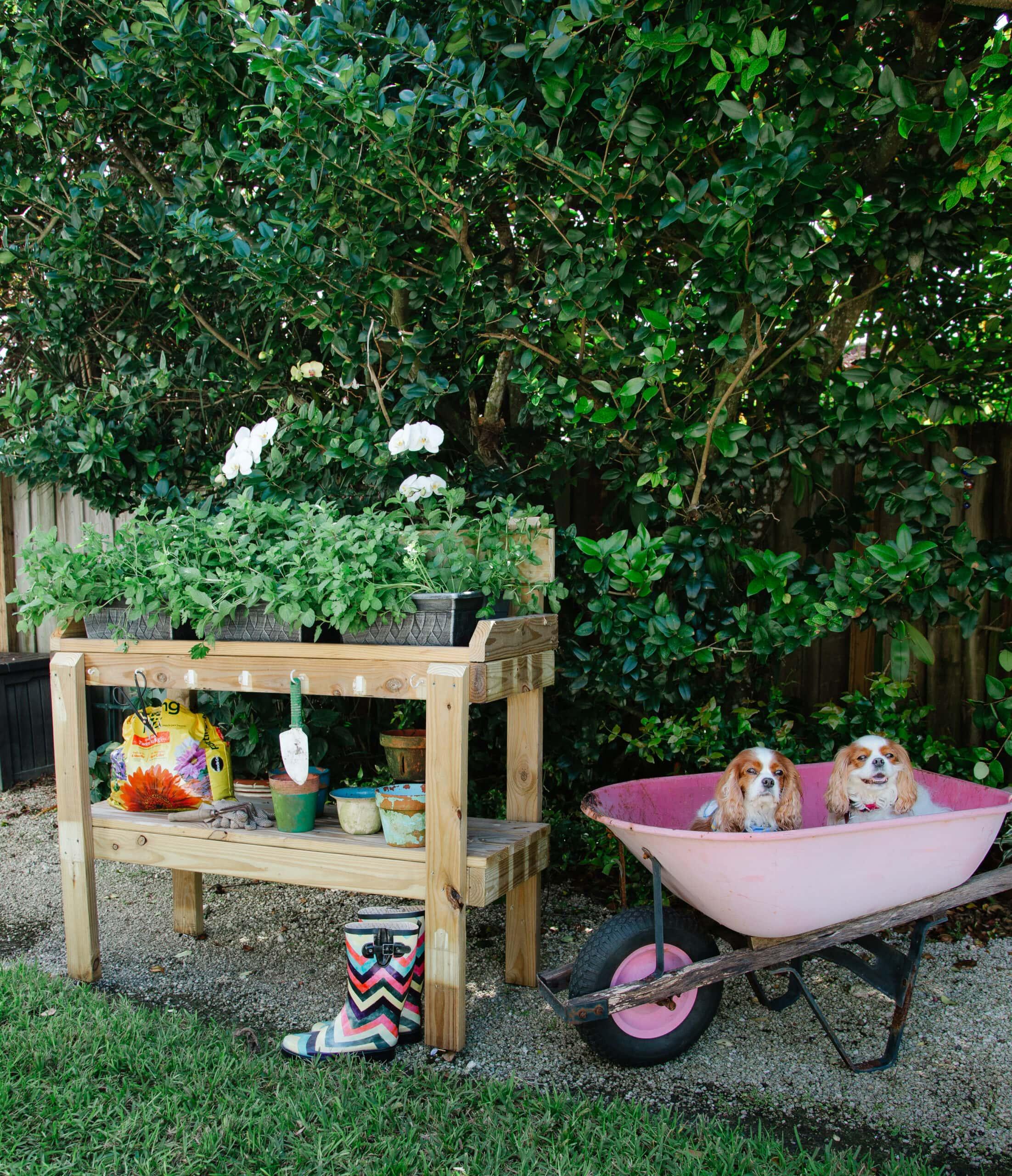 potting bench for herb garden