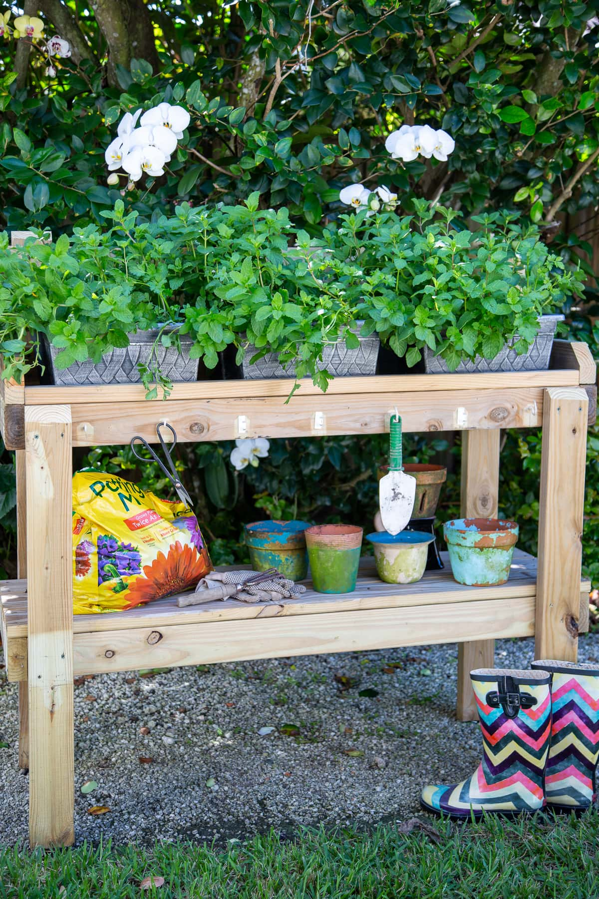 rolling garden bench