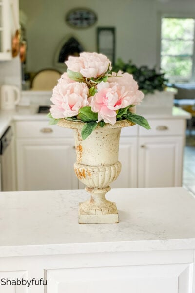 peonies in an urn