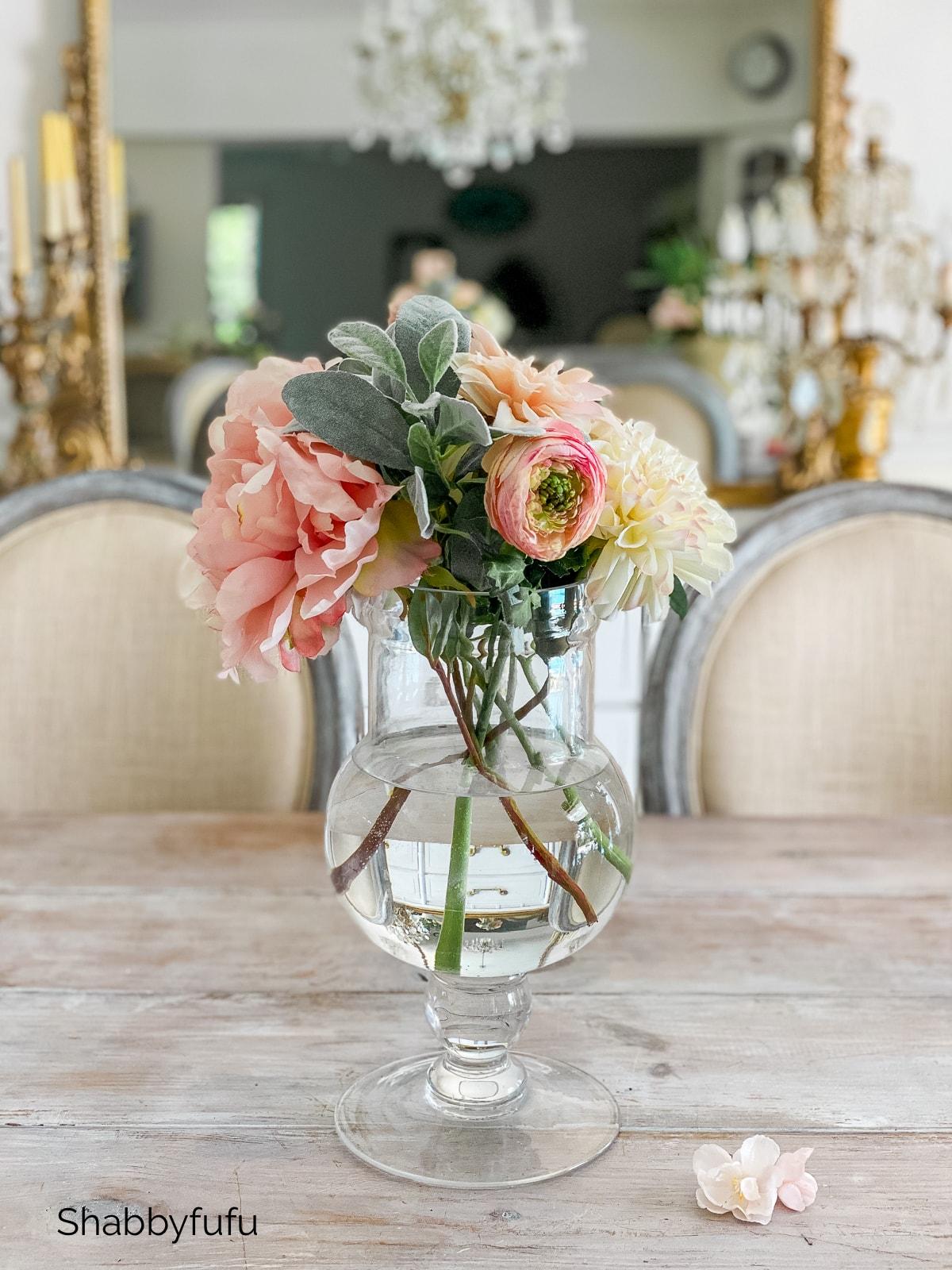 apothecary jar realistic faux flower centerpieces