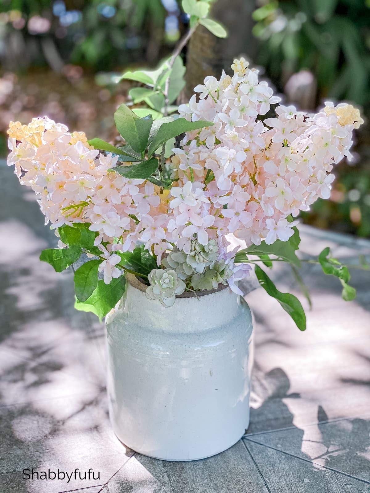 pink lilacs realistic faux flower centerpieces