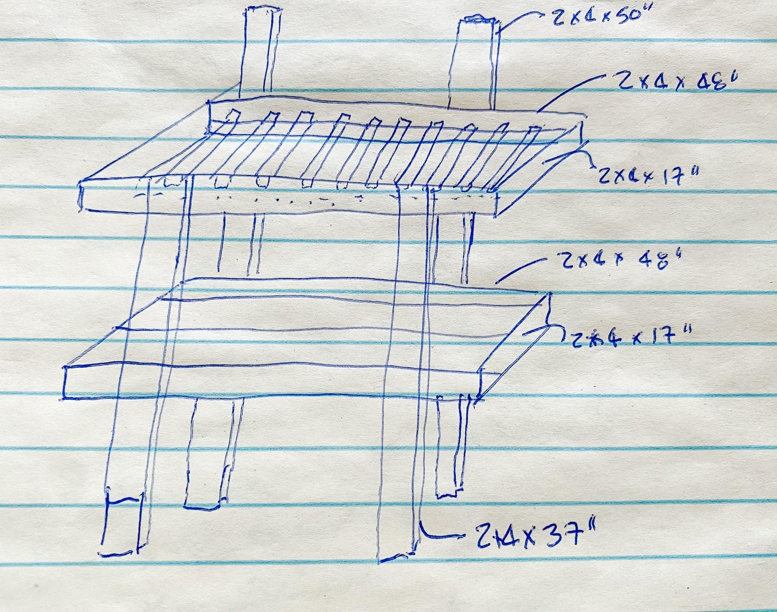 rough sketch of rolling potting bench shabbyfufu