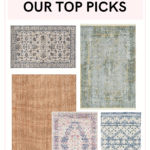 """graphic image of five rugs in different chic styles in blue, grey and pink shades titled """"Rugs: Our Top Picks""""."""