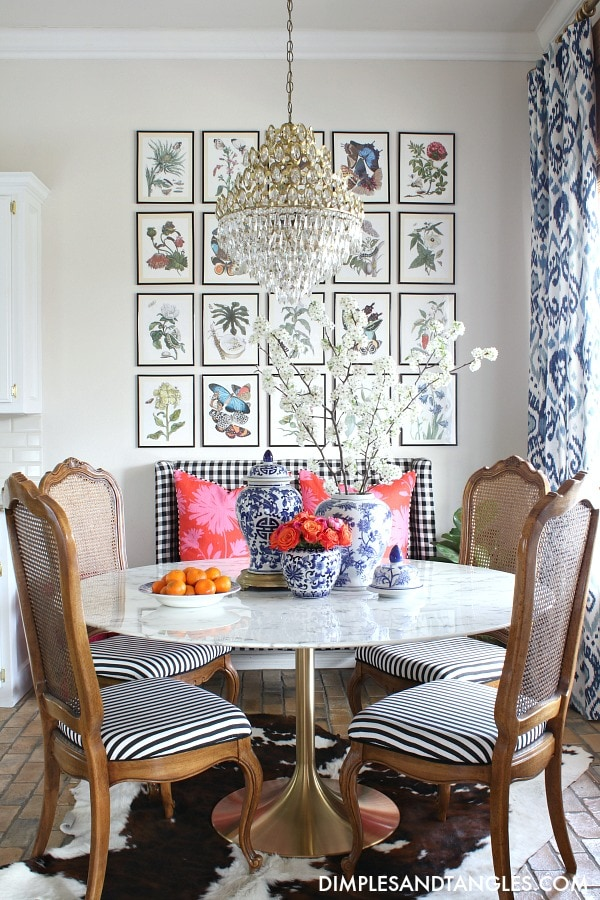 grandmillennial breakfast nook chinoiserie chic style colorful creative chic home