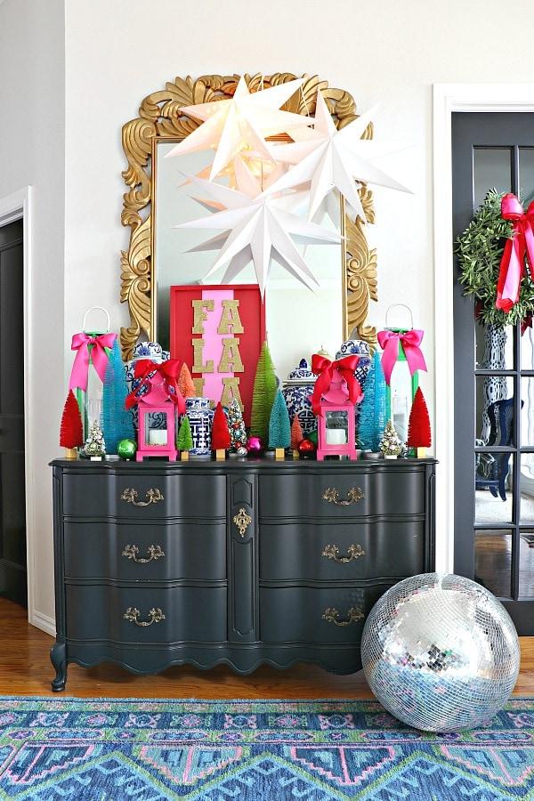 colorful grandmillennial entryway Christmas