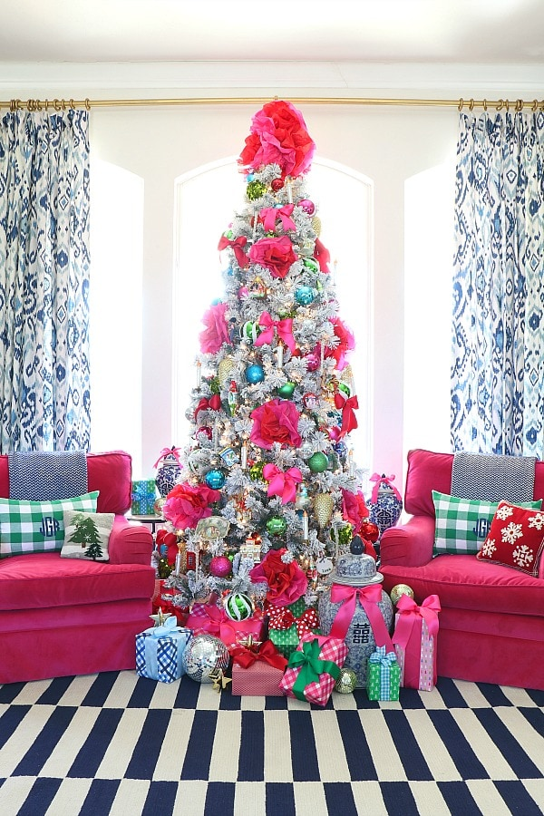 Colorful grandmillennial Christmas tree