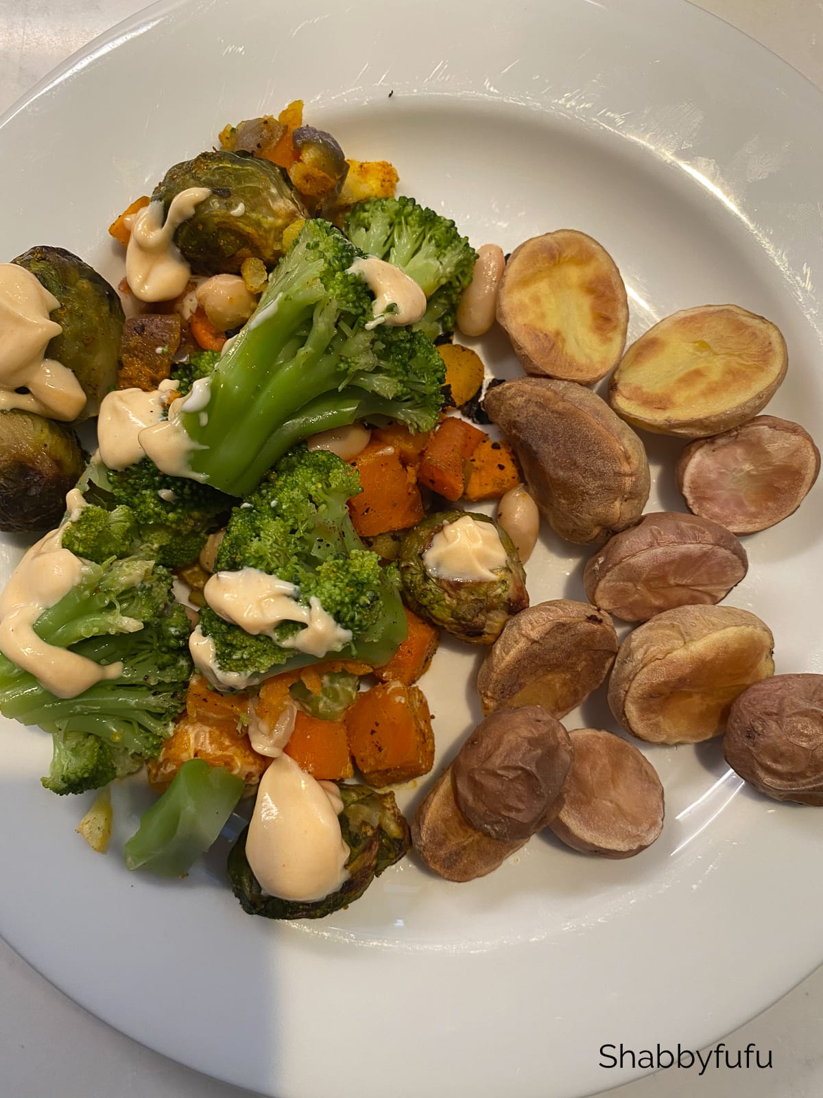 50/50 plate of veggies and potatoes