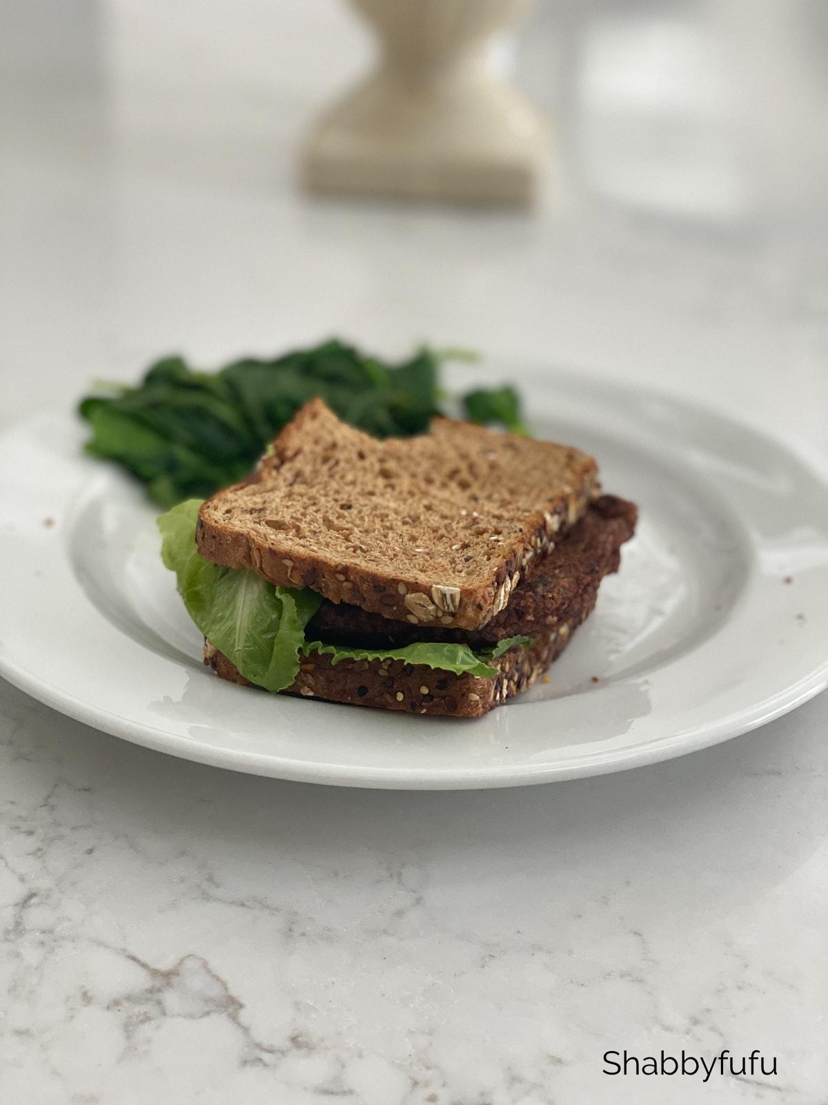 Black bean burger sandwich