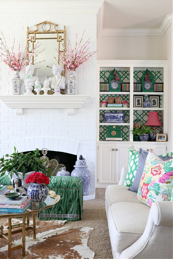 grandmillennial living room Dimples and Tangles home tour