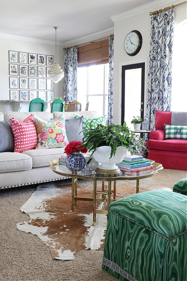 colorful creative chic home green living room style