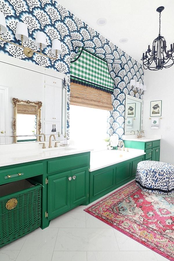 green master bathroom grandmillennial style colorful creative chic home