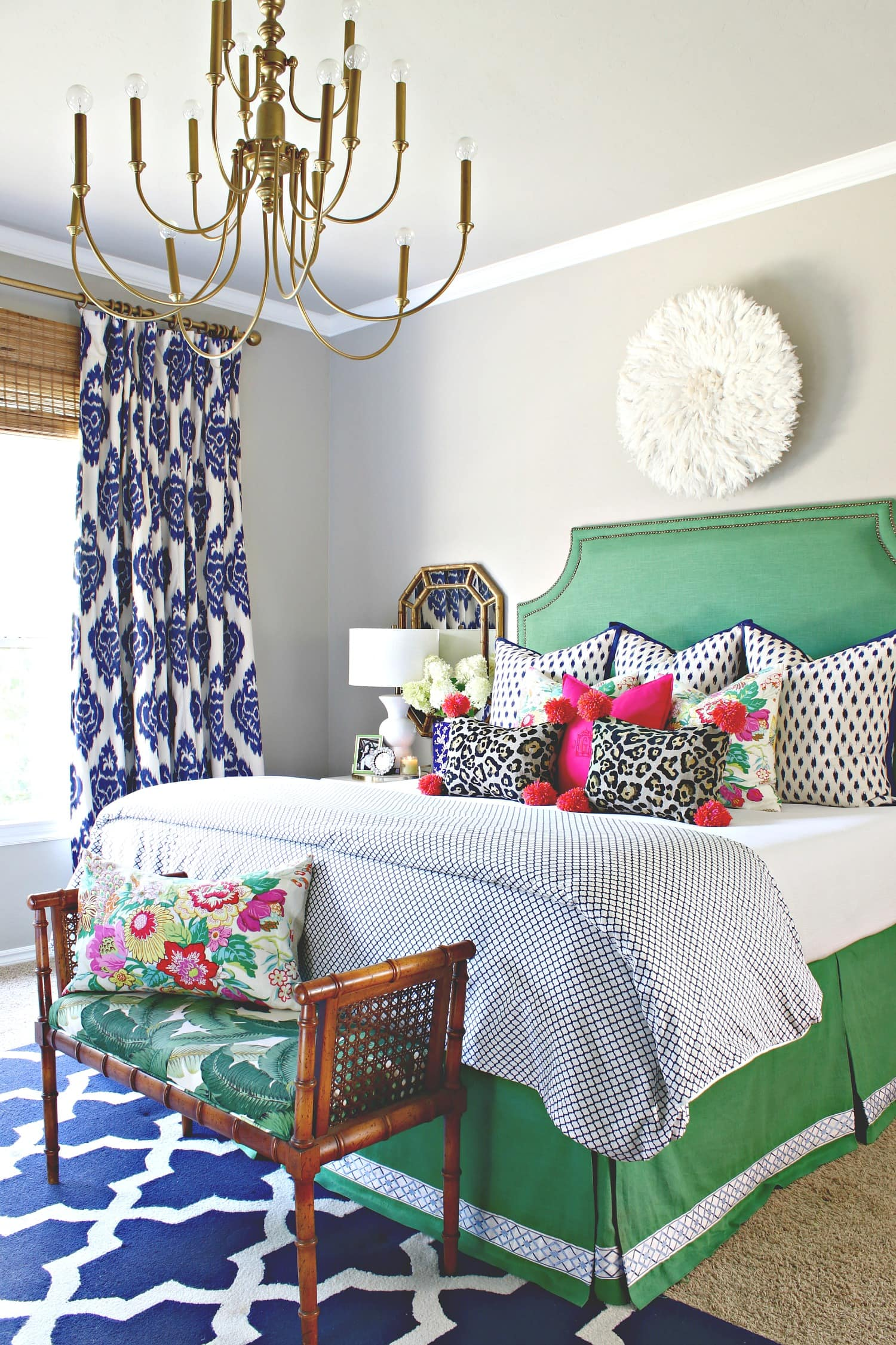 green and blue grandmillennial style master bedroom colorful creative chic home