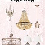 """graphic with a pink background and a beads pendant light, a blue lamp shade, a copper sealing lamp and a glass chandelier along with a title """"our favorite lighting""""."""