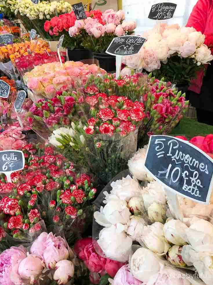 flower market with peonies in France