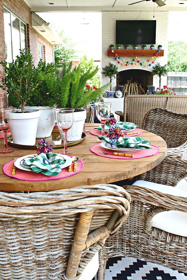 patio dining colorful creative chic home
