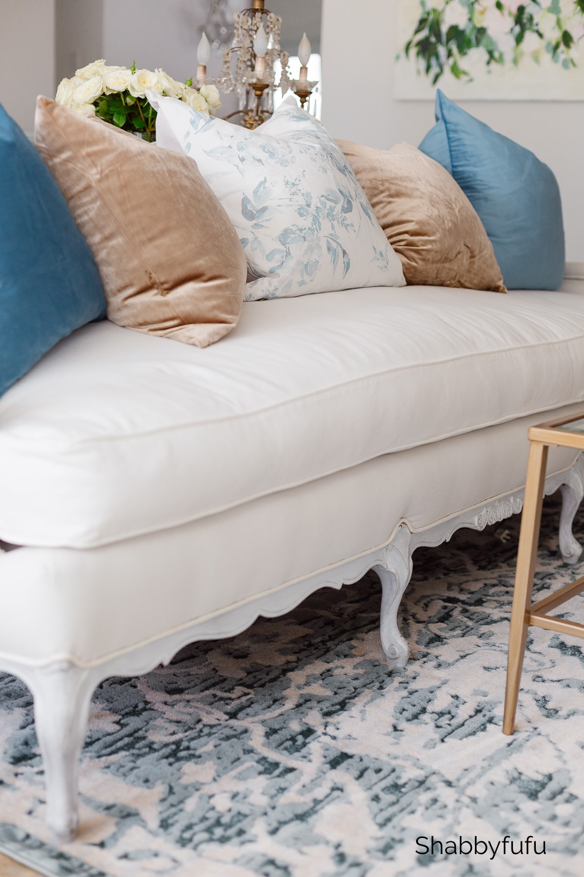 spring pillows on a French sofa