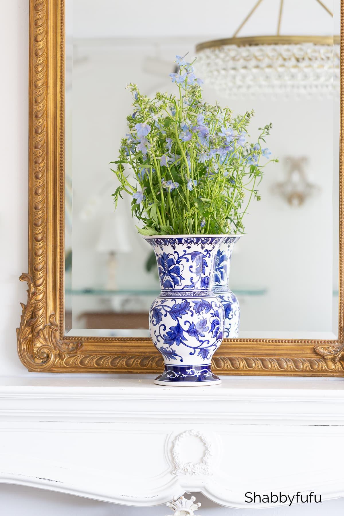 chinoiserie vase with delphinium
