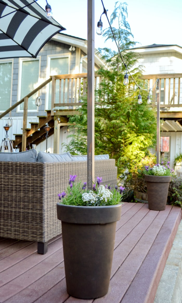 round planters with flowers and light poles and a deck