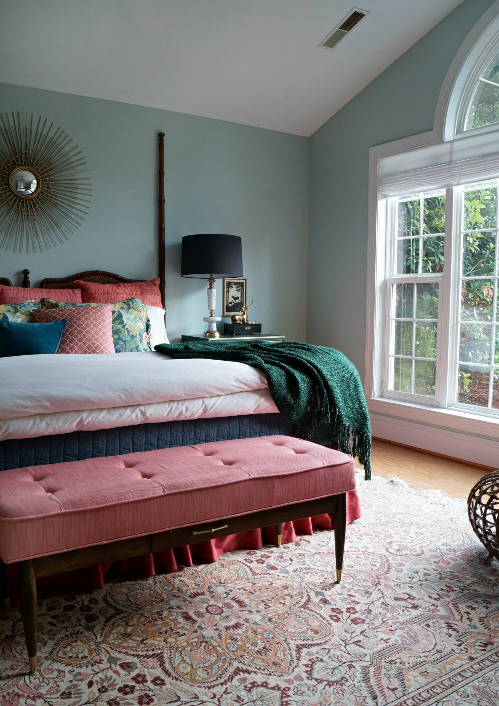 colorful mid century modern home bedroom