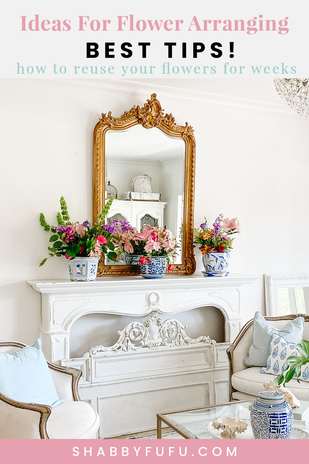 French provincial living room ideas with flowers