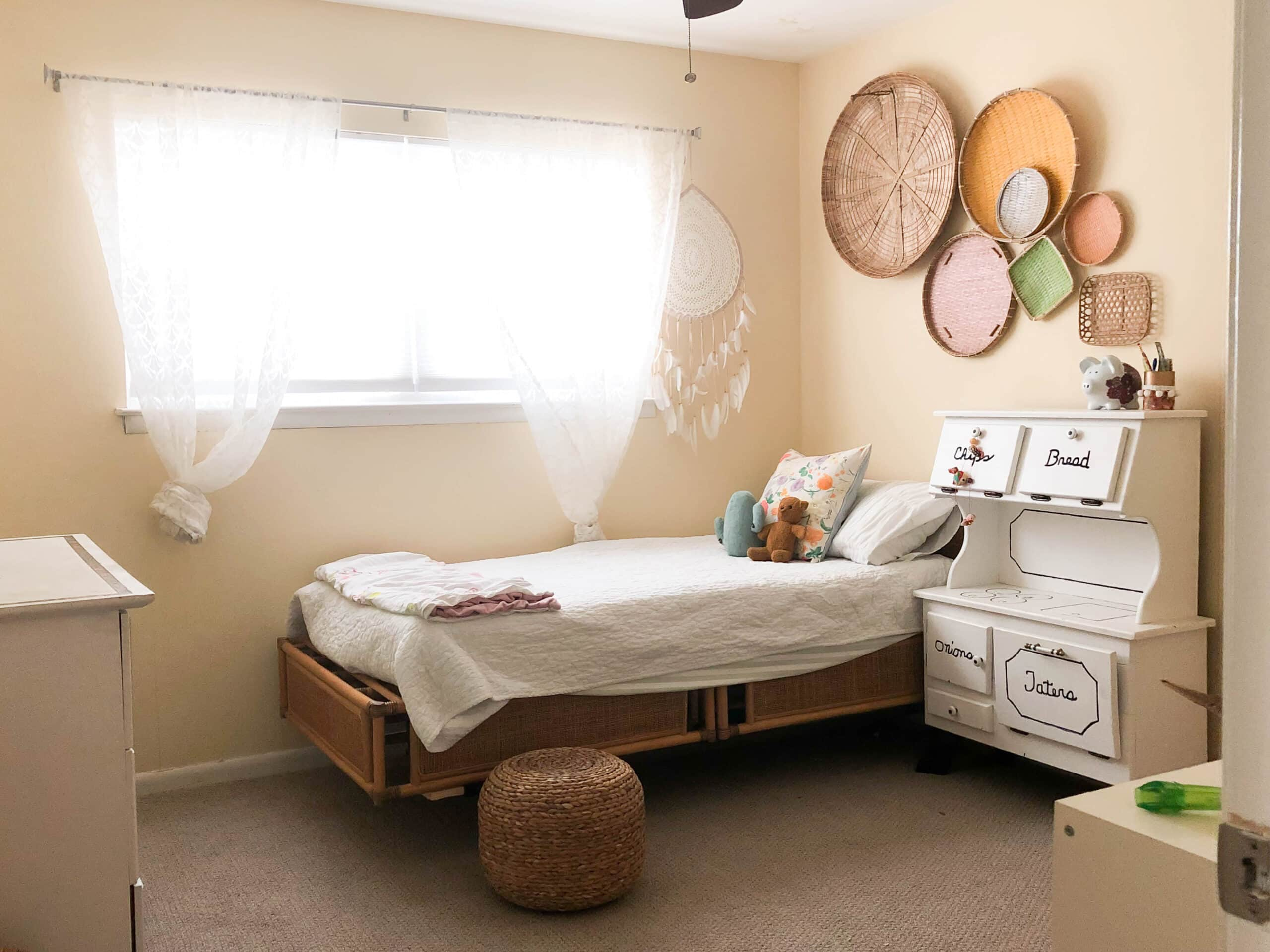 eclectic designer home tour girls room before