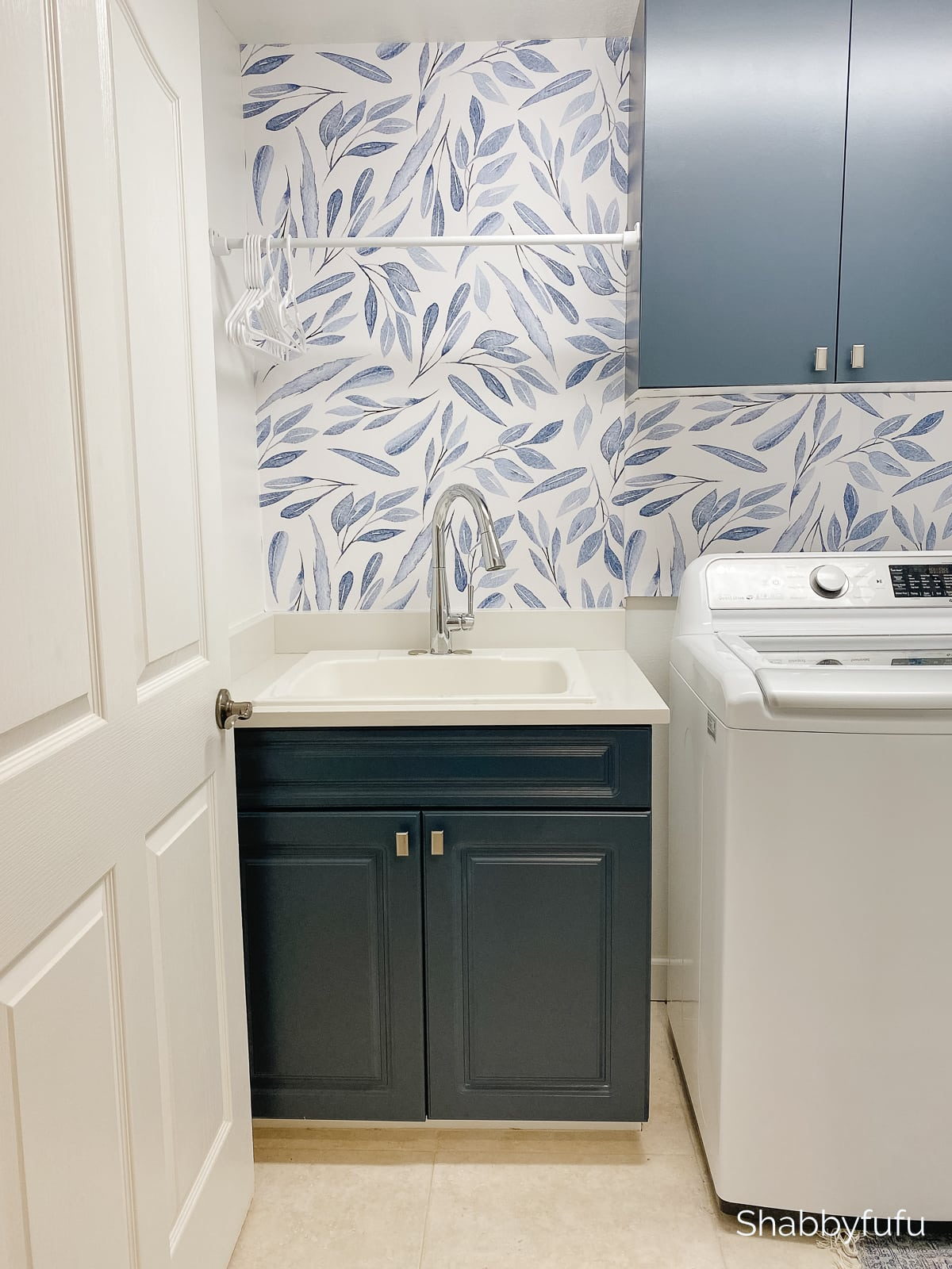 modern laundry room with peel and stick wallpaper