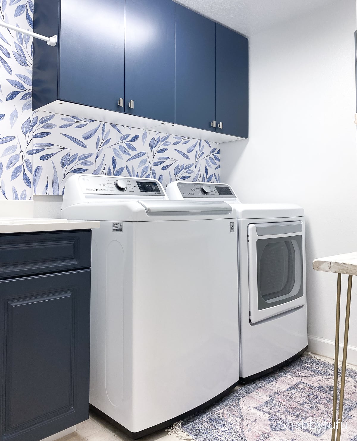 blue and white laundry room diy