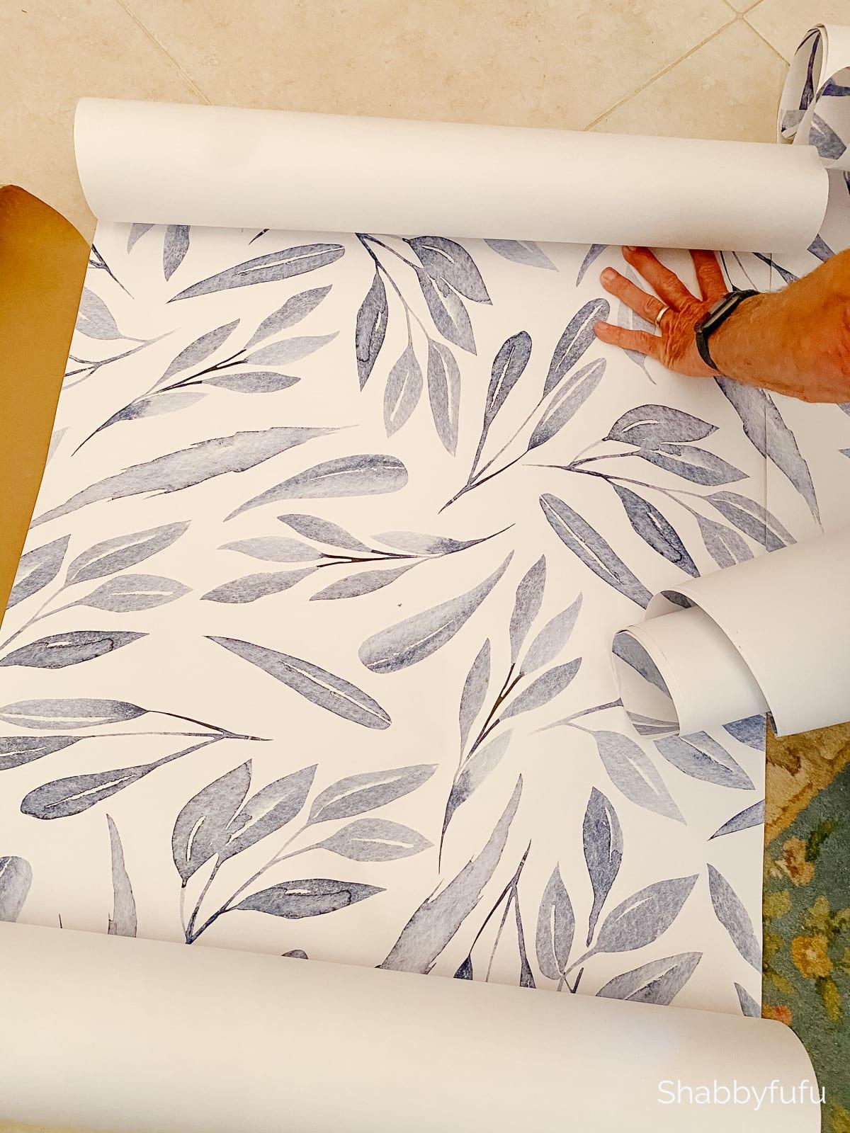 blue leaves modern peel and stick wallpaper
