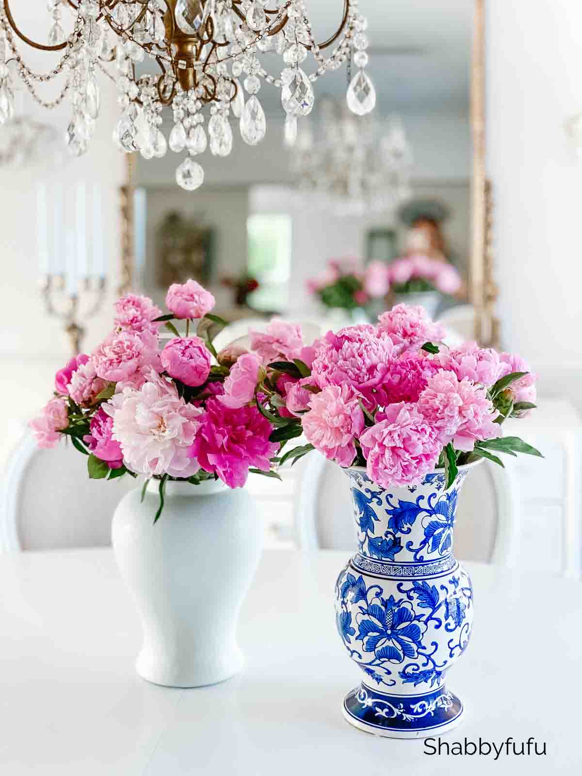 pink peonies in a chinoiserie vase