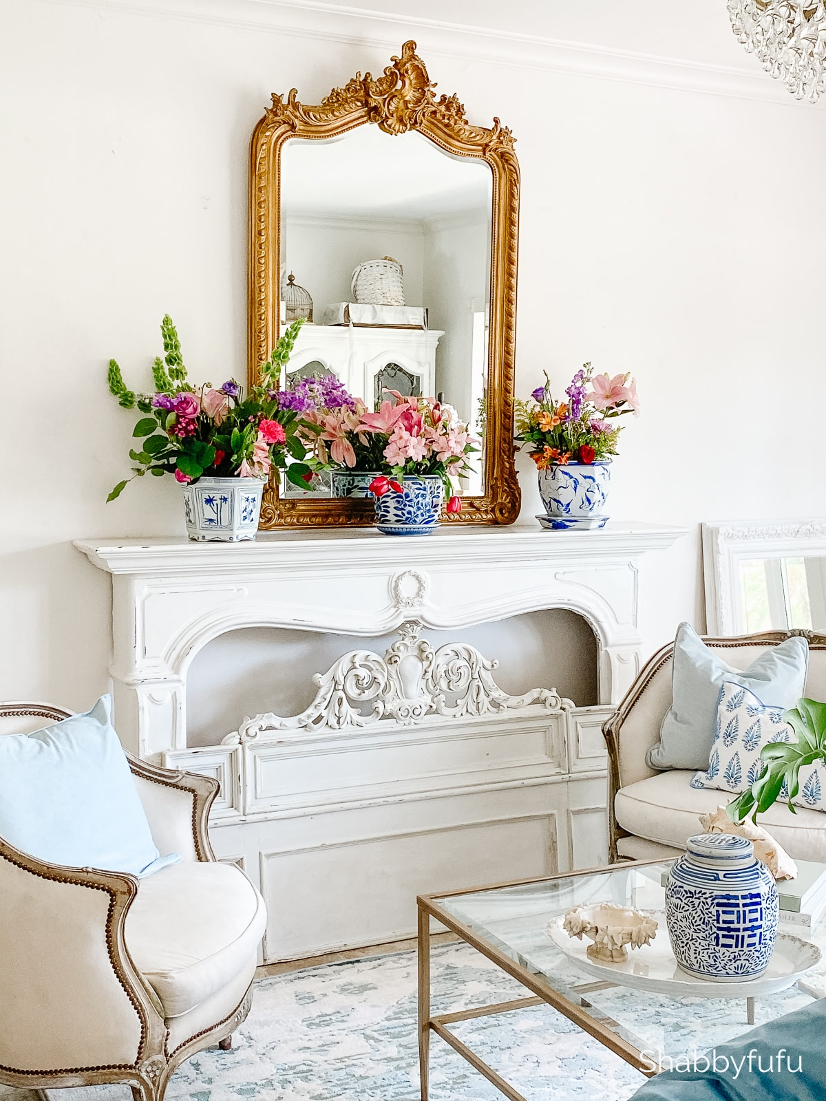 repurpose flowers indoors French provincial style living room