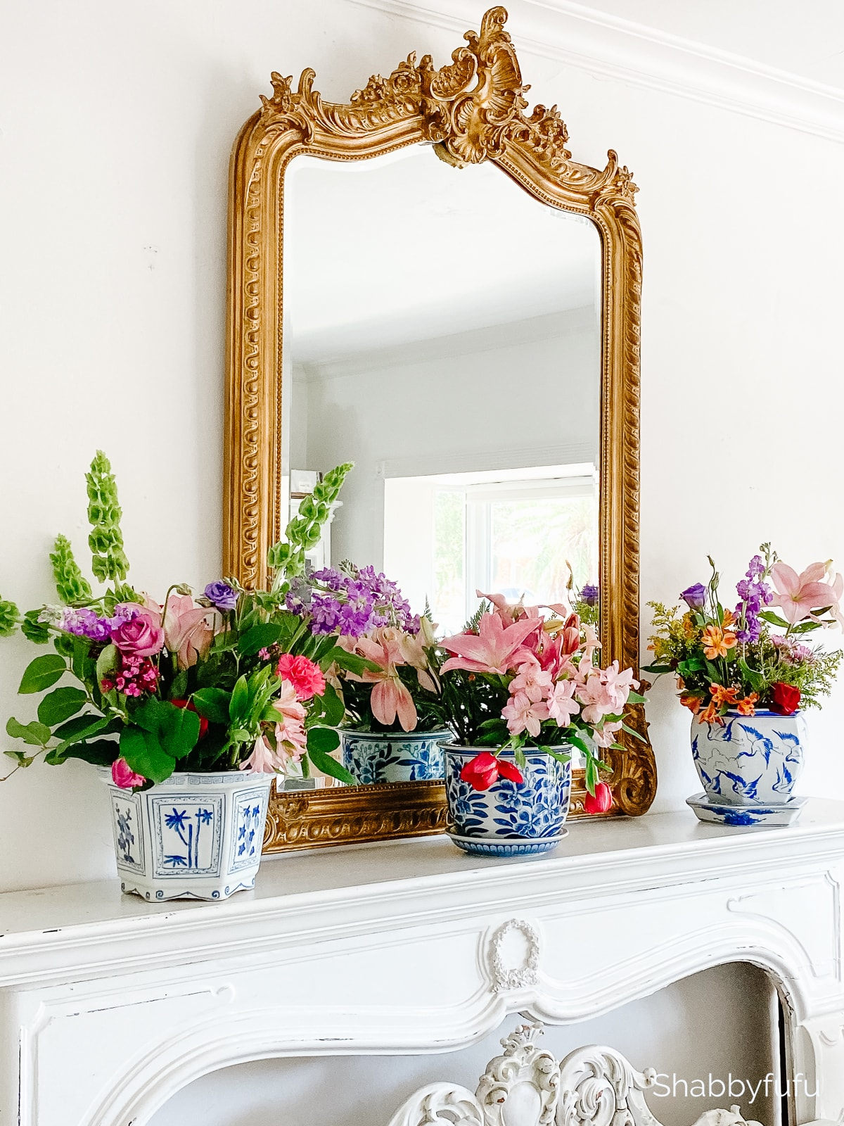 repurpose flowers indoors mantel