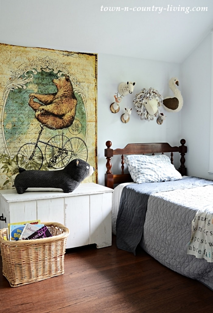boys bedroom with vintage accessories