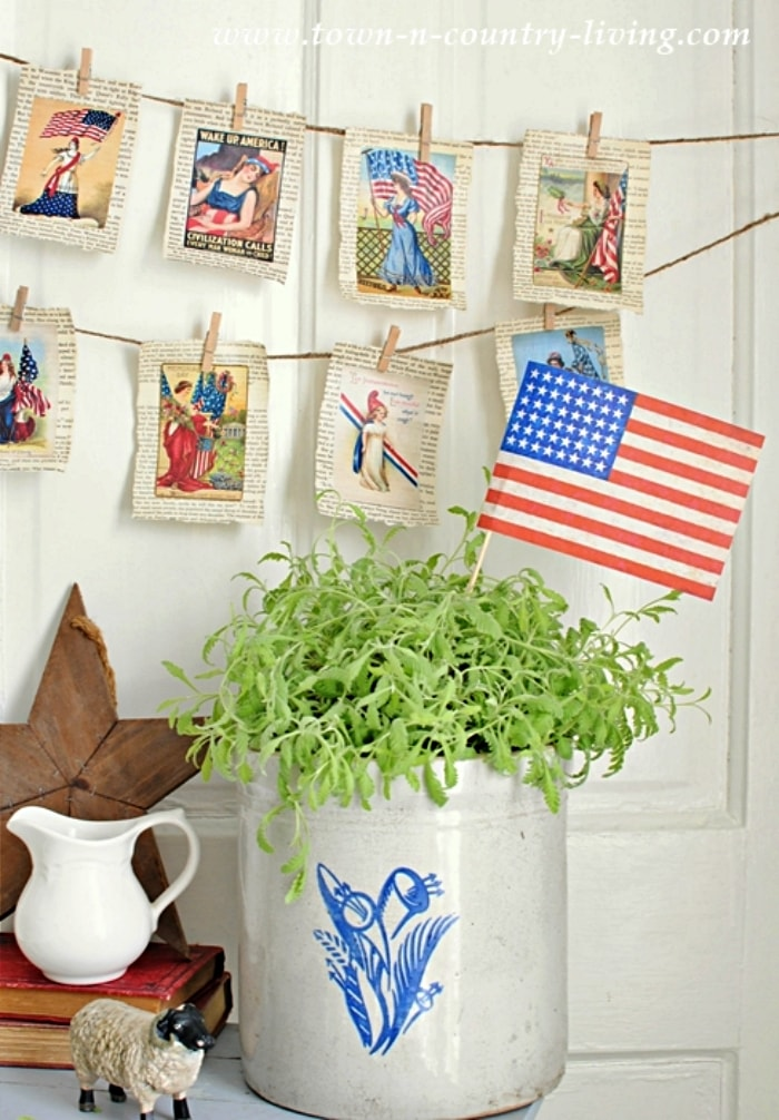 vintage patriotic pages attached to a twine garland