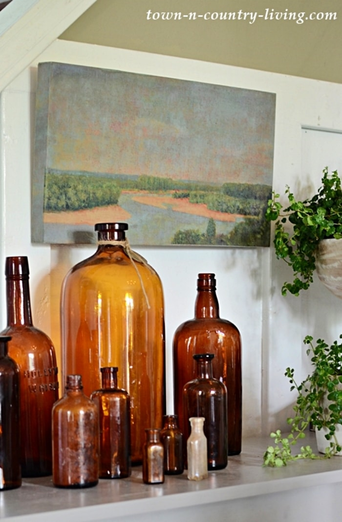 vignette with vintage glass bottles in a vignette
