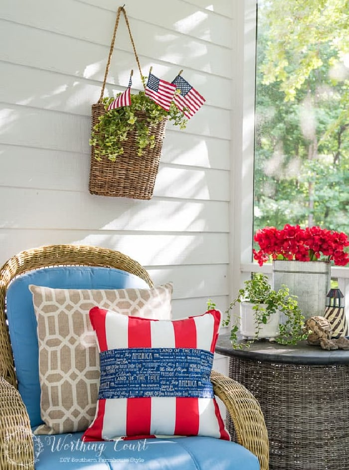 chair with blue cushions and red, white and blue patriotic decorations