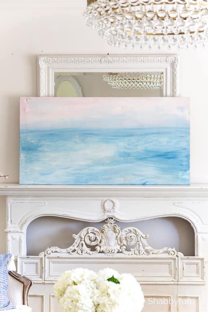 beachy diy art above a fireplace