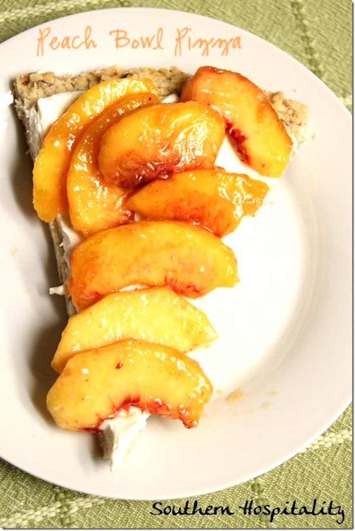 sliced peaches on a white plate