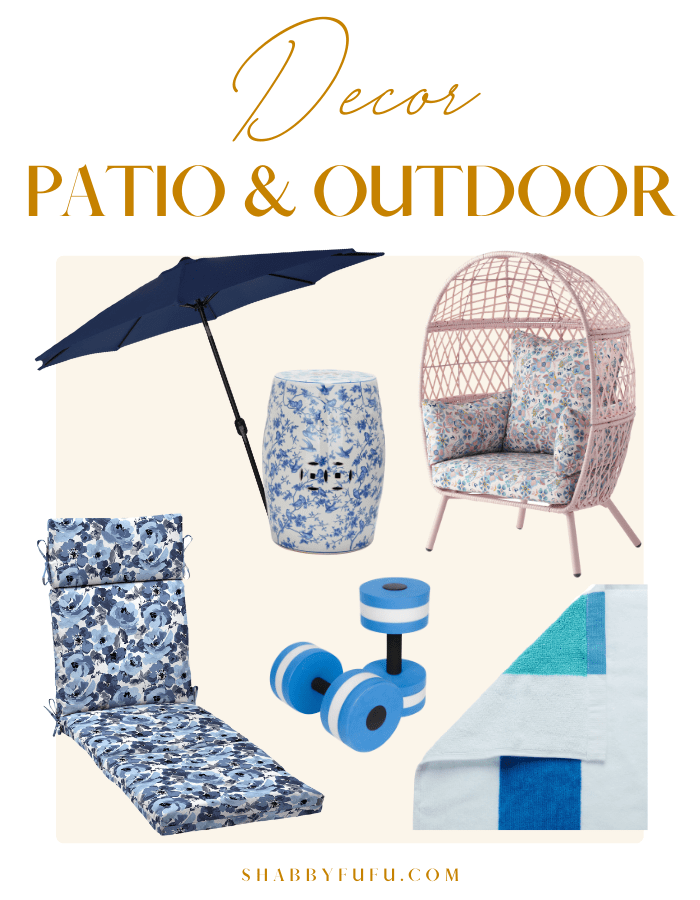 collage image of patio and outdoor decor items for the summer season, it features pink chair, blue striped towels, water weights, pool chair