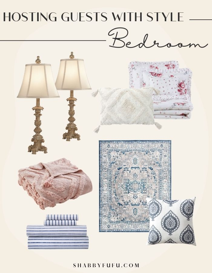 hosting guests essential products collage image of pillow, area rug, throw blankets, lamp shades and sheets