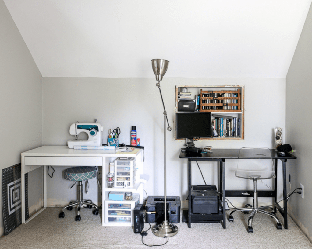 after dated home office with two desks and sewing machine