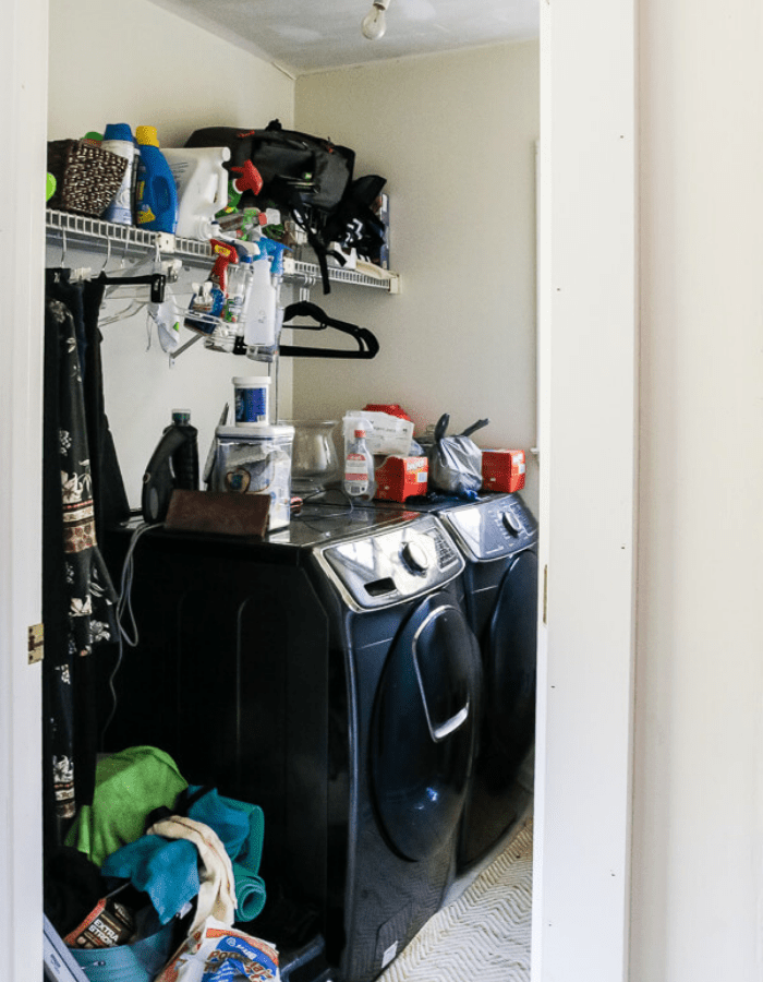 before picture of cleaning closet