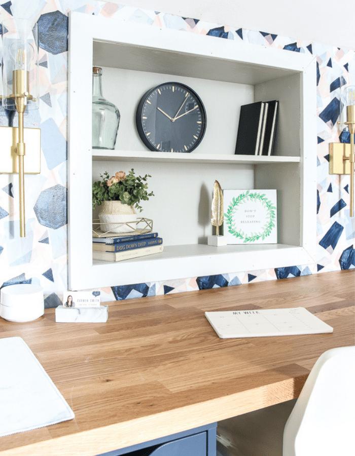 modern feminine home office DIY makeover shelves with decoration