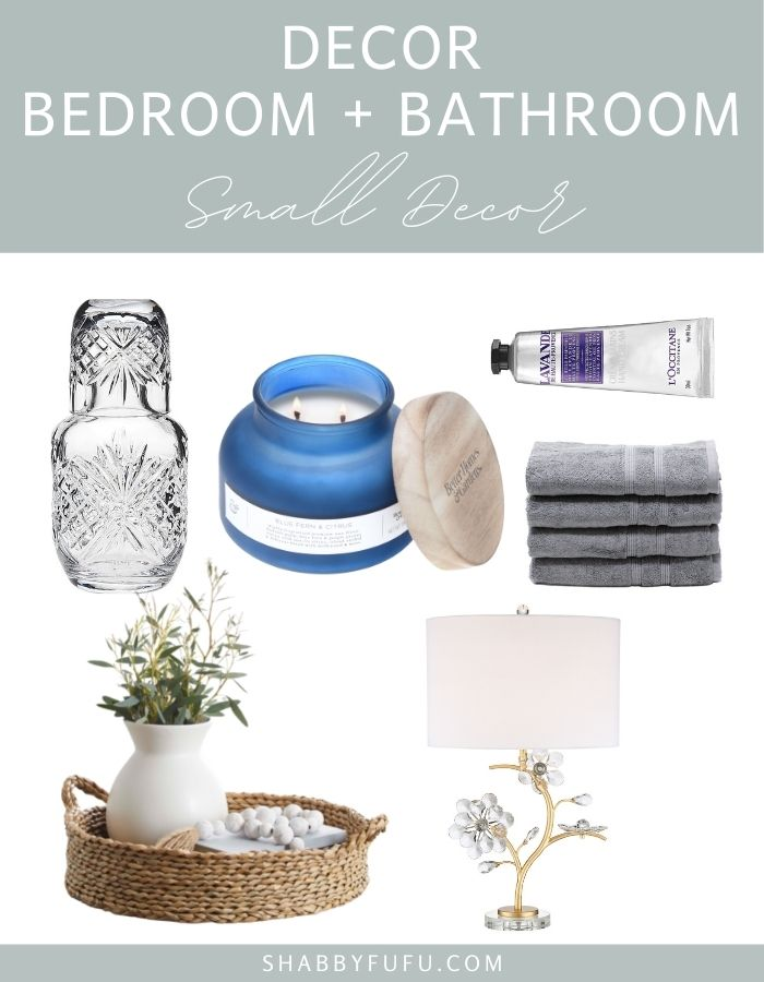 hosting guests collage image of small decor for bathroom and bedroom items such as candle in blue jar, hand lotion, woven tray, decor lamp, hand towels