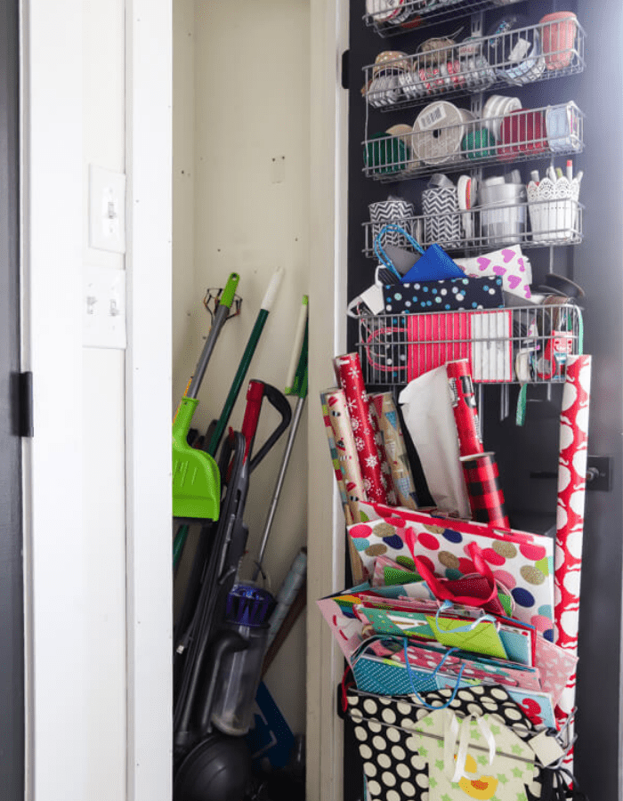 before picture of DIY makeover cleaning closet