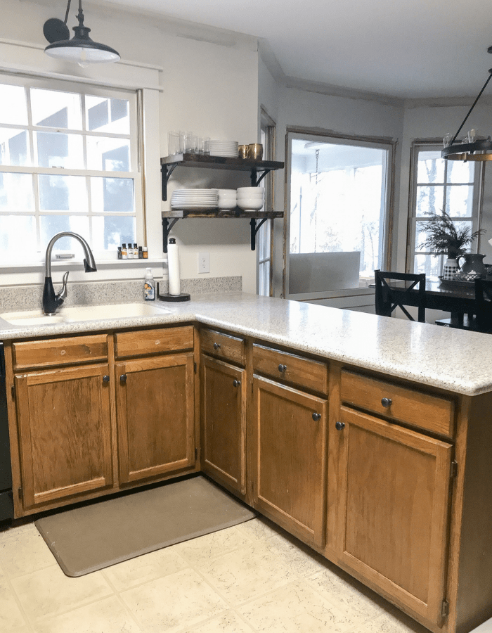 before brown countertops makeover DIY kitchen transformation