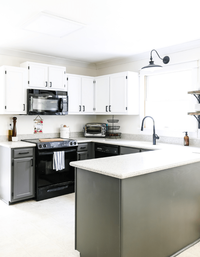 white and blue countertops makeover DIY kitchen transformation