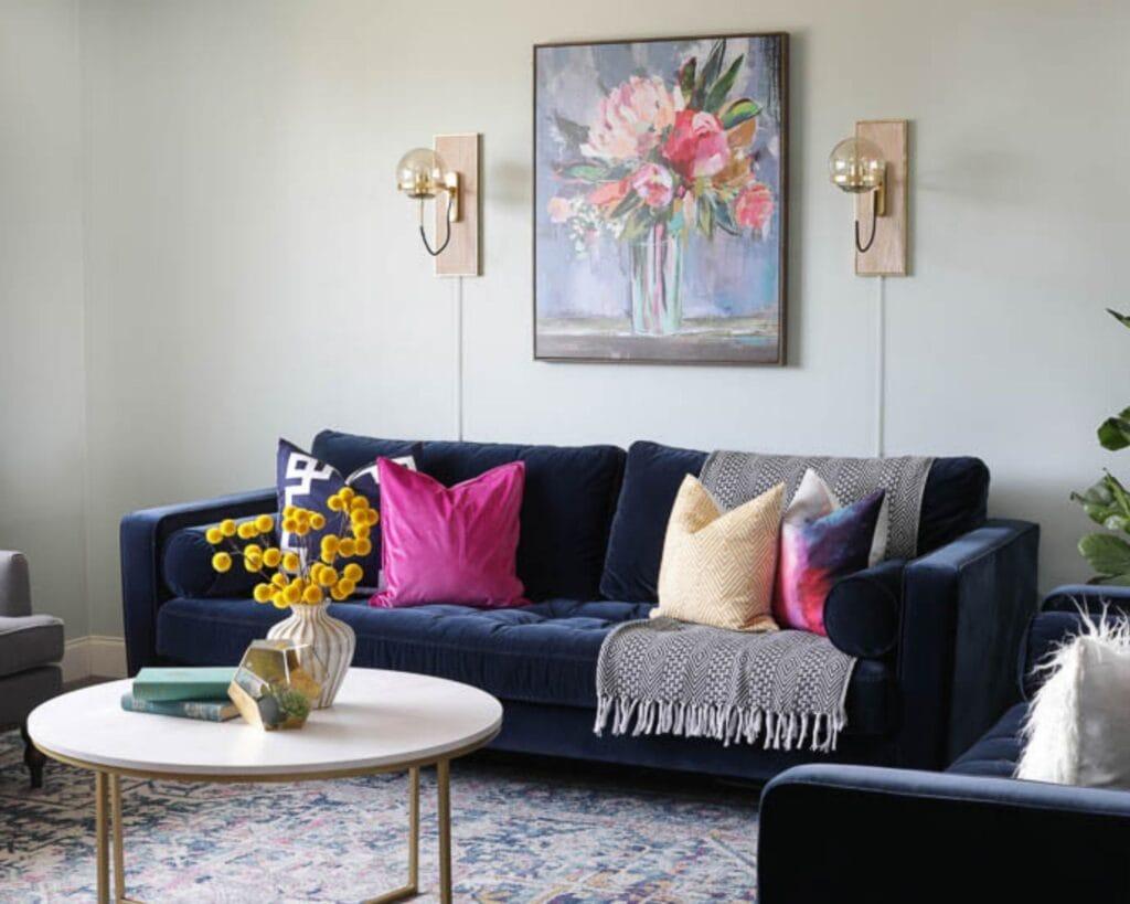 crafter home tour diy living room makeover blue sofa