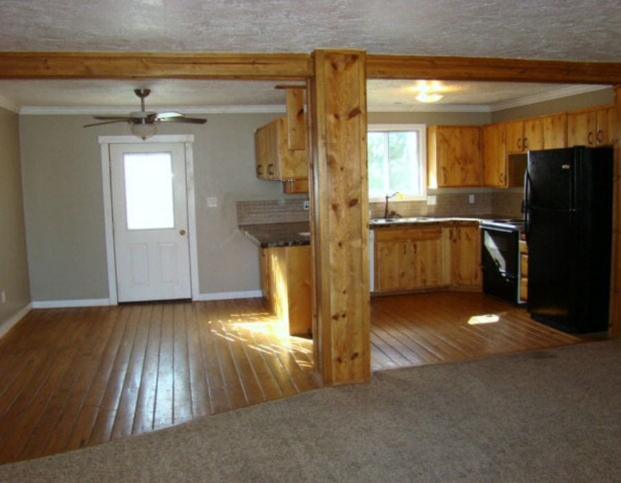 before makeover image of kirchen with oak cabinets and furniture - home tour ideas